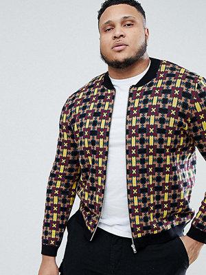 Bomberjackor - ASOS DESIGN Plus Knitted Bomber Jacket With Geometric Design
