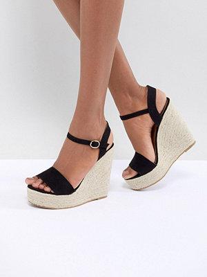 Glamorous Black Espadrille Wedge Sandals