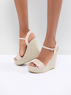 Glamorous Patent Espadrille Wedge Sandals - Nude patent