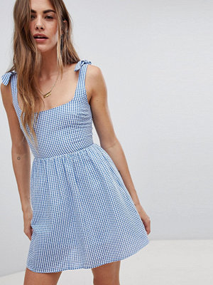 Emory Park Sun Dress With Tie Shoulders In Mini Gingham