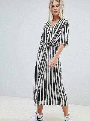 Weekday Stripe Shirt Dress - Black and white