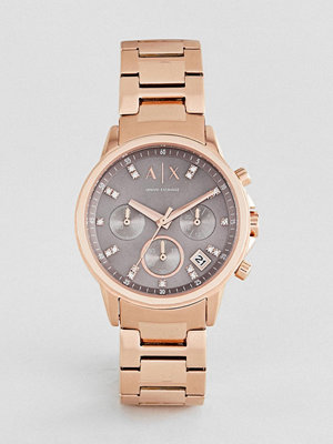 Klockor - Armani Exchange AX4354 Chronograph Bracelet Watch In Rose Gold 35mm - Rose gold