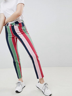 ASOS DESIGN pencil straight leg jeans with coloured stripe print - Stripe
