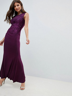Ax Paris Slinky Maxi Dress With Lace Detail - Plum