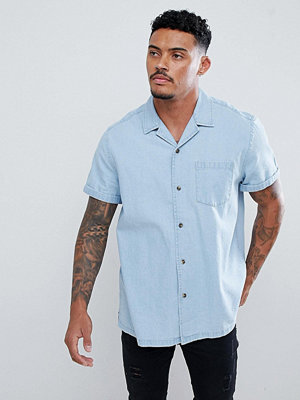 ASOS DESIGN Slim Fit Denim Shirt With Revere Collar In Mid Wash