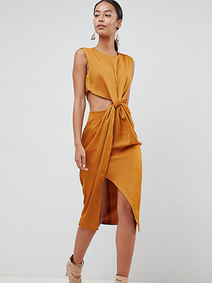 Asos Tall ASOS DESIGN Tall twist front sexy satin pencil dress with cut out