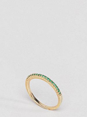 SHASHI 18K Gold Pave Emerald Crystal Ring - Emerald