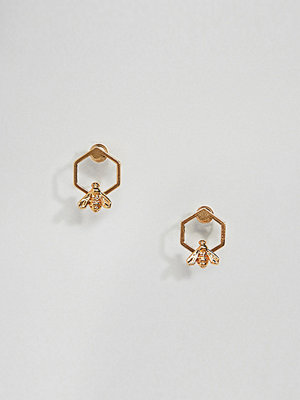 Bill Skinner örhängen Gold Plated Hexagon Bee Stud Earrings