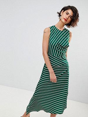 Warehouse Asymmetric Hem Stripe Sleeveless Dress - Green and white