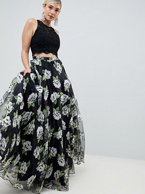 Jovani Floral Seperate Maxi Skirt with Top