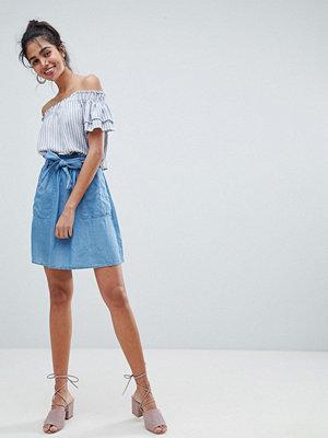 Oasis Paperbag Waist Chambray Mini Skirts - Rinse wash