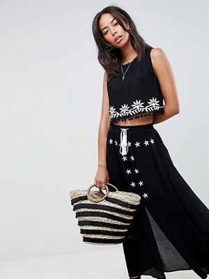 Glamorous Tall Embroidered Skirt With Tassle Ties Co-Ord