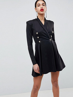 Club L Long Sleeve Tuxedo Skater Dress