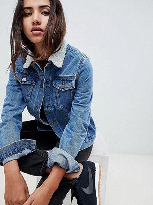 Jeansjackor - Criminal Damage Denim Jacket With Faux Shearling Collar