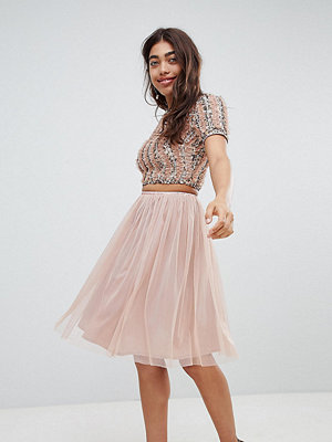 Lace and Beads Lace & Beads tulle midi skirt - Mink