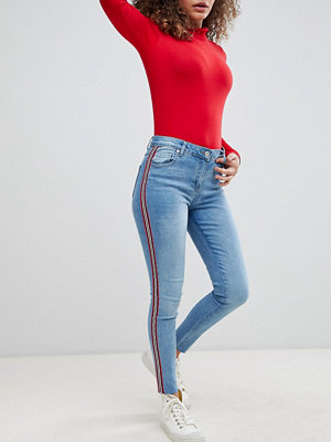 Parisian Cropped Skinny Leg Jeans With Side Stripes