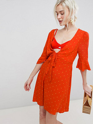 Free People All Yours Tie Waist Mini Dress - Red combo