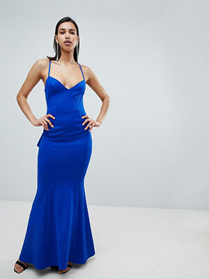 City Goddess Waterfall Back Maxi Dress - Cobalt blue