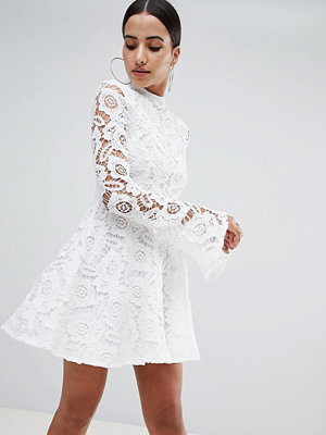PrettyLittleThing Lace Fluted Sleeve Skater Dress