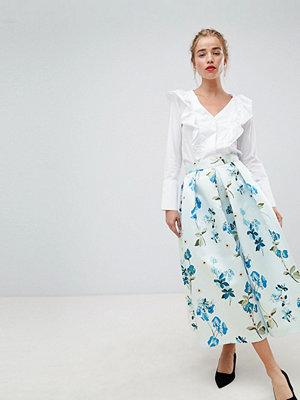 Closet London Blommig balkjol i midimodell Blekblå multi
