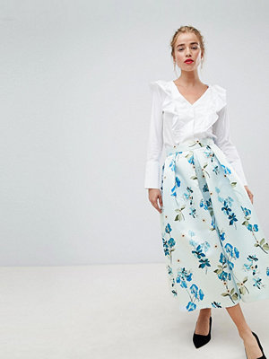 Closet London full prom midi skirt in floral print - Pale blue multi