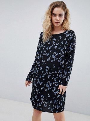 Pieces Ibea Floral Print Shift Dress - Black/blue