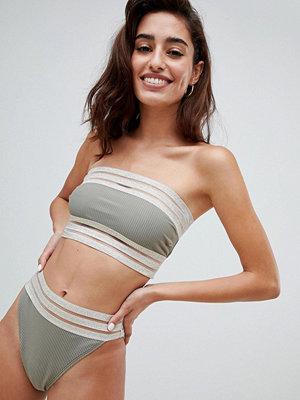 River Island High Leg Gold Binding Bikini Brief