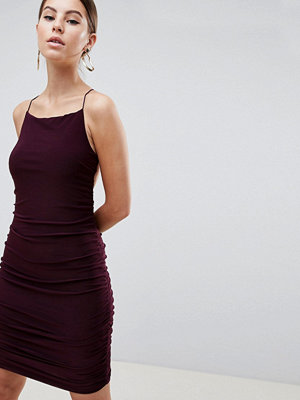 Ax Paris Sqaure Neck Mini Dress - Plum