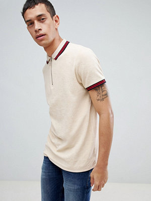 ASOS DESIGN polo shirt in towelling with zip neck and contrast tipping - Noodle