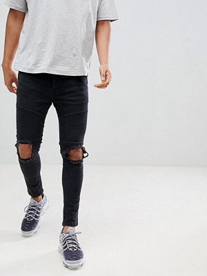 Jeans - Night Addict Supper Skinny Panelled Ripped Jeans