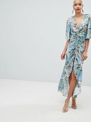 River Island Ruched Front Floral Print Maxi dress - Blue light print