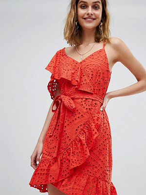 River Island Frill Front Broderie Wrap Dress