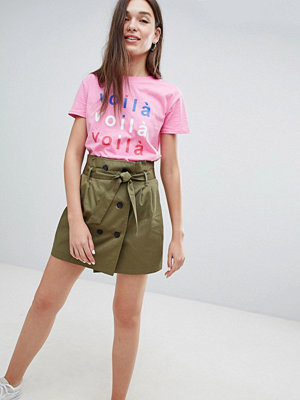 Bershka double breasted tie waist mini skirt in green