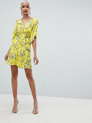 River Island Knot Front Floral Smock Dress - Yellow bright print