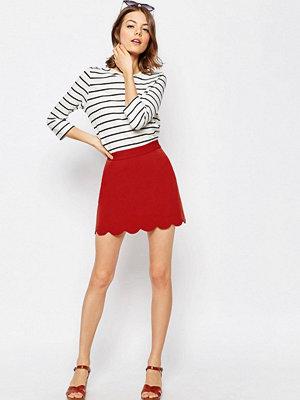 ASOS A-Line Mini Skirt with Scallop Hem - Brick