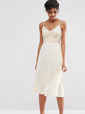 Asos Tall Lace Sequin Bodice Cami Midi Skater Dress - Nude
