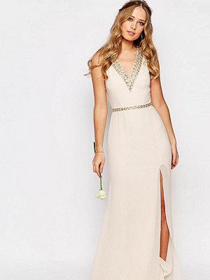 TFNC WEDDING V Front Embellished Strap Maxi Dress - Nude