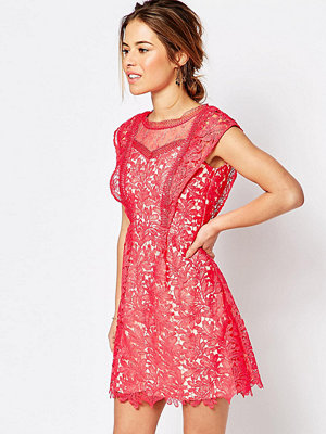 Little Mistress Petite All Over Lace Skater Mini Dress With Frill Sleeve Detail - Coral