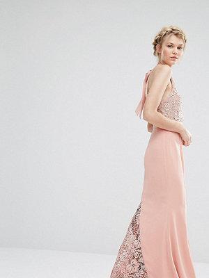 Jarlo Petite Halter Neck Maxi Dress With Lace Bodice - Nude