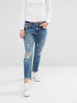River Island Distressed Girlfriend Jean - Denim mid