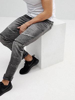 Jeans - Brooklyn Supply Co. Brooklyn Supply Co Skinny Jeans With Biker Zip Rip Detail - Bk1 black 1