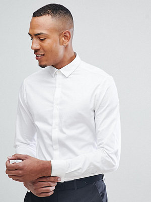 ASOS DESIGN Tall wedding slim fit sateen shirt with double cuff
