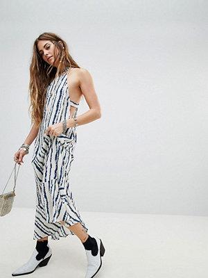 En Cr�me En Creme Racer Cami Maxi Dress In Watercolour Stripe - Black white stripe