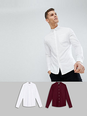 ASOS DESIGN Slim Oxford Multipack In White And Burgundy Save