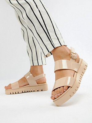 ASOS DESIGN Fadey Chunky Jelly Flat Sandals - Nude