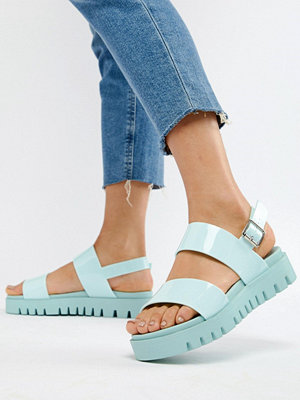 ASOS DESIGN Fadey Chunky Jelly Flat Sandals - Pale blue