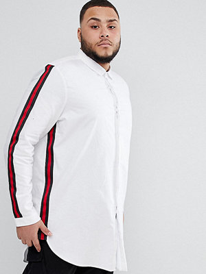 ASOS DESIGN Plus Regular Fit Super Longline Shirt With Taping