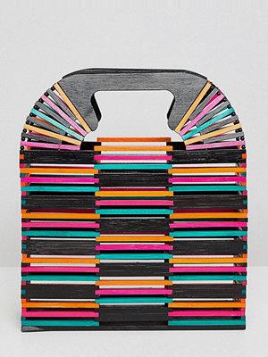 ASOS kuvertväska DESIGN Coloured Bamboo Square Boxy Clutch Bag