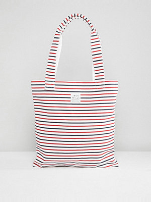 Jack Wills shopper Navy Stripe Book Bag - Navy stripe