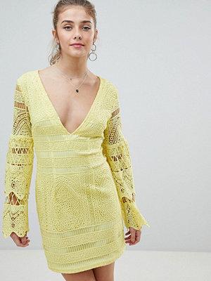 PrettyLittleThing V Neck Lace Mini Dress